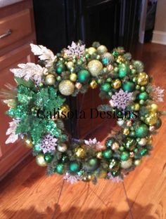 I created this wreath for a friend whose son has Cerebral Palsy.  Green is the color of CP awareness, and it was an honor to make this for her.