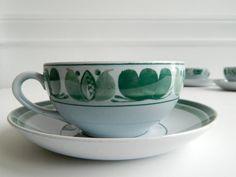 Set of 4 Arabia Finland handpainted Green Laurel by MonkiVintage, $48.00