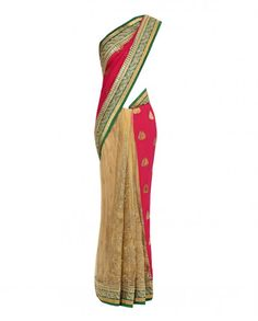 Beige and Pink Sari with Embroidery - New Arrivals