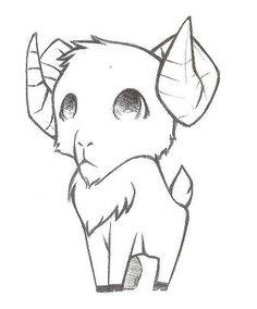 Aries by DigitalOwnski on DeviantArt Aries by BrokenTeddyBear. Cute Monsters Drawings, Kawaii Drawings, Animal Drawings, Cartoon Sketches, Art Drawings Sketches, Easy Drawings, Arte Aries, Aries Art, Black Sheep Tattoo