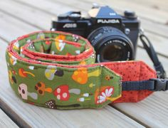 Monogramming Included Extra Long Camera Strap for DSL camera Fun Funky Mushroom Print With Dark Orange Reverse by maddiebee123 on Etsy.