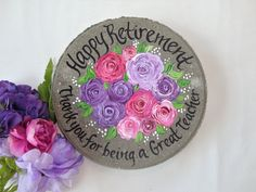 Hand painted garden stones and wedding glassware by Personalized Retirement Gifts, Retirement Gifts For Women, Wedding Gifts For Parents, Teacher Retirement, Beautiful Gifts For Her, Unique Gifts For Mom, Employee Appreciation Gifts, Employee Gifts, Mother Of The Groom Gifts