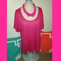 Maurices Top Top only- hot pink Maurices loose top with sheer back. Size xlarge, measures 23 inches across and 26 inches from top to bottom Maurices Tops Blouses