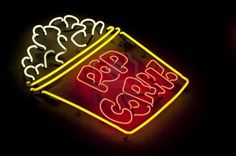 neon popcorn light sign