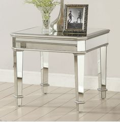 Coaster 70393 Square Mirrored End Table - Coaster Fine Furniture Mirrored End Table, Glass End Tables, End Table Sets, End Tables With Storage, White Bathroom Furniture, Mirrored Furniture, Coastal Furniture, Grey Furniture, Furniture Styles