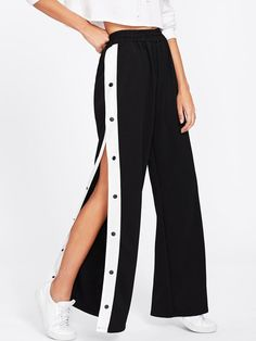 Young Preppy and Sexy Wide Leg Loose Elastic Waist Mid Waist Black Long Length Tape Button Side Wide Leg Pants Girls Fashion Clothes, Teen Fashion Outfits, Mode Outfits, Girl Fashion, Fashion Dresses, Preteen Fashion, Teenage Girl Outfits, Tomboy Outfits, Style Clothes