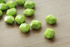 10pcs of faceted Rhombus Opaque Lime Green by AbsolutSupplies