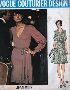 Vogue 2971 1970s  Designer Wrap Dress Pattern Jean Muir  Pattern UNCUT Womens Vintage Couturier Sewing Pattern  Wow. This was a pattern I sewed a long time ago when I was a beginning seamstress. It was my first attempt at Couturier sewing. Blood, sweat, and tears went into the making of the dress. But I finished it. What a learning curve it was!