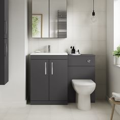 Ashford grey gloss combination unit with santorini toilet - better Small Bathroom With Shower, New Bathroom Ideas, Bathroom Design Small, Bathroom Layout, Bathroom Interior, Toilet And Basin Unit, Basin Vanity Unit, Bathroom Vanity Units, Toilet Vanity