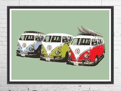 VW campervan print VW campervan poster VW campervan by VectorDome