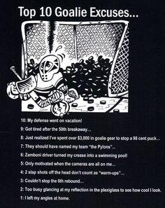 Top 10 Goalie Excuses funny hockey T-shirt pads mask pucks net #Gildan #BasicTee
