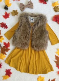 Fall outfit / fur vest / kids outfit old navy mustard dress fall fashion Tenue d'automne / veste en fourrure / tenue pour enfants robe de moutarde marine ancienne mode automne Girls Fall Outfits, Outfits Niños, Little Girl Outfits, Little Girl Fashion, Toddler Girl Outfits, Toddler Fashion, Polyvore Outfits, Kids Fashion, Fashion Fall