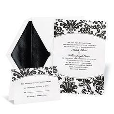 Love! Black Damask Wedding Invitation
