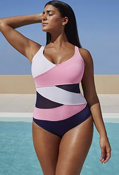 f319b641920f5 One Piece - Anne Cole Pink and Navy Mesh Swimsuit Swimwear One Piece  Slimming
