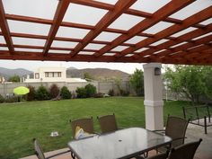 Pergola Against House Wooden Pergola, Diy Pergola, Pergola Decorations, Backyard Kitchen, Privacy Walls, Patio Roof, Stain Colors, Ideas Para, Bbq