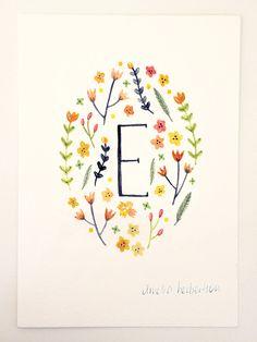 Yellow Flowers Monogram Letter E floral art print