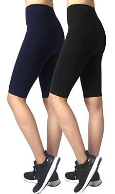 39b49d3d23a08 Neonysweets Womens Active Workout Tights Yoga Short Cotton Half Tights 2  Pack Black Blue L * Visit the image link more details. (Note:Amazon  affiliate link)