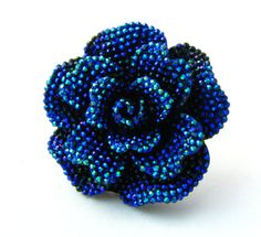 Glittery Rose Ring - Available in Silver, Bermuda Blue, White Aurora Borealis - Rainbow Glitter Rhinestone Huge Statement Cocktail Ring on Etsy, $15.30 CAD