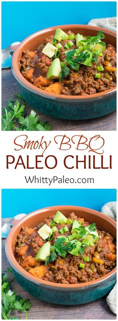 Smoky BBQ Paleo Ground Beef Chili Con Carne - your favourite Mexican fall comfort food with a delicious smoky twist. Gluten free and dairy free recipe.