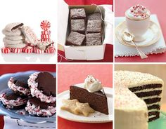 Chocolate-peppermint cookies   Chocolate gingerbread bars   Peppermint semifreddo   Chocolate candy cane cookies  Chocolate-peppermint cake  Chocolate-peppermint cake