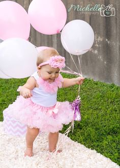 Girls first birthday Outfit pink tutu birthday by PoshPeanutKids