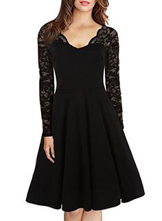 ZANZEA Women s 1950 s Vintage V-Neck Floral Lace Long Sleeve Stretch Cocktail  Party Swing Dress 156b3ee78