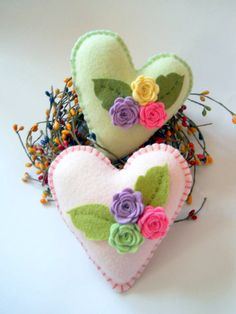 Hearts and Flowers Pillows  Two Pastel Wool