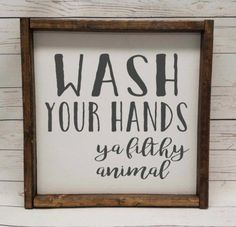 Wash your hands, brush your teeth, Farmhouse style, kid or master bathroom, framed sign, fixer upper, handpainted, thankful home decor, ---------------------------------------------------------------------------------- ►►This hand painted, chunky framed farmhouse style sign has a slightly #bathroomdecorideas Small Bathroom, Master Bathroom, Big Bathrooms, Washroom, Bathroom Canvas, Gold Bathroom, Beautiful Bathrooms, Moroccan Bathroom, Cream Bathroom
