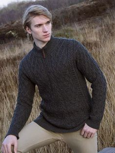 Aran Crafts Mens Wool Cable Knit Leather Pull Zip Neck Cable Knit Sweater  Pullover Half Zip 838253b29