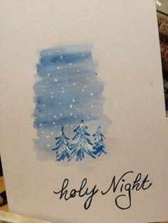 O Holy Night . & # Tis the night of our dear Savior's Birth - xmas - noel Christmas Paintings, Christmas Art, Christmas Holidays, Christmas Decorations, Painted Christmas Cards, Christmas Lyrics, Watercolor Christmas Cards, Watercolor Cards, Xmas Cards