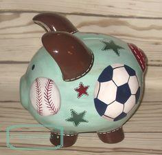 Pintado a mano de artesanos personalizadas Piggy por Alphadorable Personalized Piggy Bank, Personalized Gifts, Piggy Banks, Baby Coming, Paint Pens, Custom Items, Pigs, Babys, New Baby Products