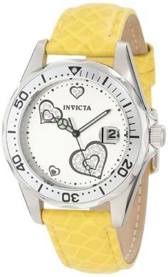 Women's Wrist Watches - Invicta Womens 12511 ProDiver Silver Dial Crystal Accented Hearts Yellow Leather Watch ** Continue to the product at the image link.