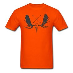 Moose Skull with Wooden Arrows. Men's Hunter's Orange & Charcoal Hunting American Traditional Bow Hunting Deer / Buck with Antlers cotton T-shirt for Hunters - Vintage look