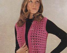 Crochet patterns for women Crochet Jacket, Crochet Top, Double Crochet, Vintage Knitting, Vintage Crochet, American Threads, Double Knitting, Retro Outfits, Vintage Jacket