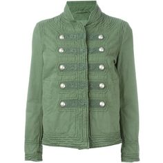 Ermanno Scervino Cotton Jacket With Buttons ($1,280) ❤ liked on Polyvore featuring outerwear, jackets, green, army green jacket, military jacket, button jacket, army jacket and cotton field jacket