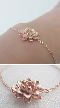 Rose Gold Lotus Blossom Bracelet