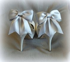 Bridal Shoe Clips -  Satin Bows - MANY COLORS AVAILABLE womens shoe clips wedding shoes clip Best Seller on Etsy, $28.00