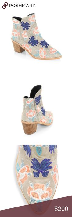 """Rebecca Minkoff Leather Ankle Booties NWT Lovely floral embroidery enhances these ankle boots ABS stacked heel, 2.5"""" (65mm) Leather upper Point toe Side zip closure Polyurethane lining Rubber sole Imported Rebecca Minkoff Shoes Ankle Boots & Booties"""