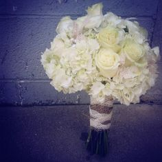 White country wedding Burlap and lace white roses  country wedding white hydrangea