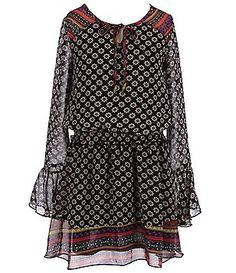 Truly Me Big Girls 7-16 Mixed-Pattern Bell Sleeve Dress