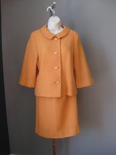 Orange Suit / Vtg 60s /  B. H. Wragge by EmotionalOutletShop