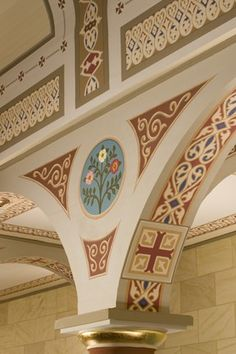 Stencils | Conrad Schmitt Studios Inc. Byzantine Icons, Byzantine Art, Arabesque, Interior Color Schemes, Gothic Furniture, Church Interior, Decorative Borders, Church Design, Orthodox Icons