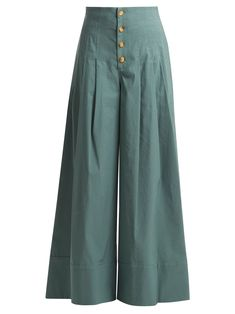 Bernadette high-rise wide-leg trousers | Sea | MATCHESFASHION.COM US Fashion Pants, Wide Leg Trousers, Stylish Dresses, Duster Coat, Pajama Pants, Pairs, Womens Fashion, Stuff To Buy, Jackets