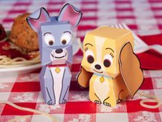 Lady and the Tramp papercraft.  Just print out the template (from Disney's family.go.com) onto card stock cut and glue together.  Many more just like this on their website.