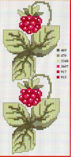 Berries border cross stitch pattern
