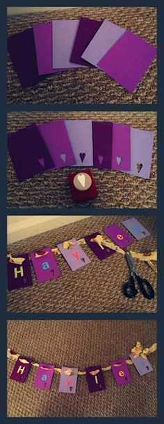 DIY Baby Shower Gift. Wood Alphabet box and purple accessories and name garland. Step by Step tutorial on How to make a Paint Chip Name Garland