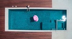 Gab Scanu and his pink flamingo poolside, California