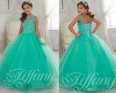 Newest Jade\Mint Little Girls Pageant Dresses Tulle Sheer Lace Illusion Neck Sequin Beaded Kids Flower Girls Birthday Princess 13442 Gowns Inexpensive Pageant Dresses Infant Pageant Dresses For Sale From Voguedress, $78.7| Dhgate.Com
