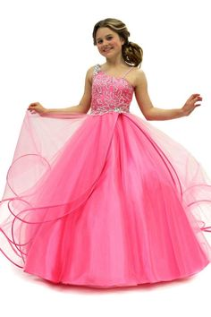 Pink Spaghetti Strap Court Train Organza Ball Gown Girls Pageant Dress B3pt0037