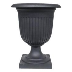 Tierra Verde Crescendo 19 in. W x 23 in. H Round Slate Rubber Self-Watering Ribbed Urn, Slate Textured Base Large Outdoor Planters, Hanging Planters, X 23, Curb Appeal Porch, Floors And More, Self Watering Planter, Porch Furniture, Succulent Terrarium, Succulents Garden